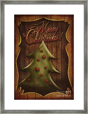 Christmas Card - Vintage Christmas Tree In Wooden Frame Framed Print
