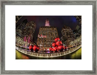 Christmas Decorations Near Radio City Framed Print