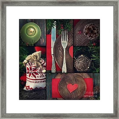 Christmas Dinner Collage Framed Print