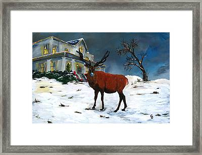 Christmas Elk Framed Print by Gail Daley