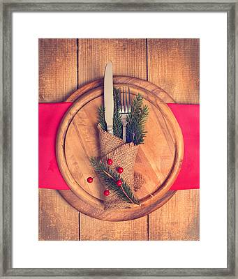 Christmas Table Setting Framed Print by Amanda Elwell