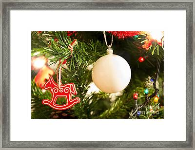 Christmas Tree Red Horse And White Ball Framed Print