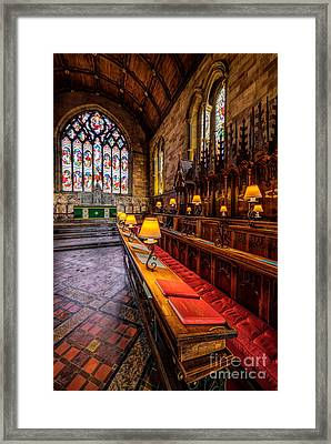 Church Lamps Framed Print by Adrian Evans