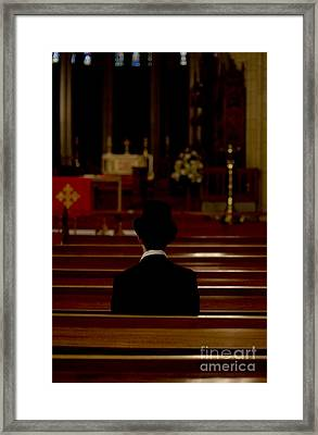 Church Pews Man Framed Print