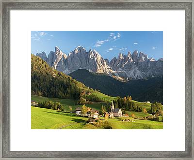 Church Sankt Magdalena In The Villnoess Framed Print by Martin Zwick