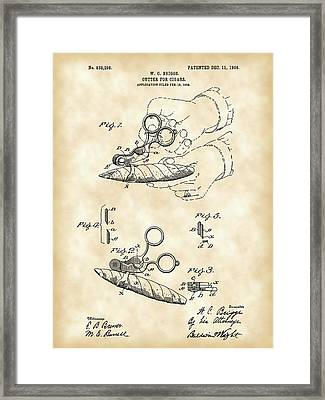 Cigar Cutter Patent 1906 - Vintage Framed Print by Stephen Younts