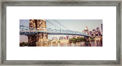 Cincinnati Bridge Retro Panorama Photo Framed Print