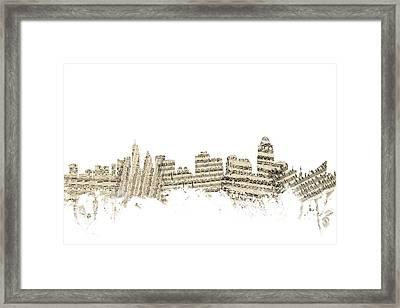 Cincinnati Ohio Skyline Sheet Music Cityscape Framed Print