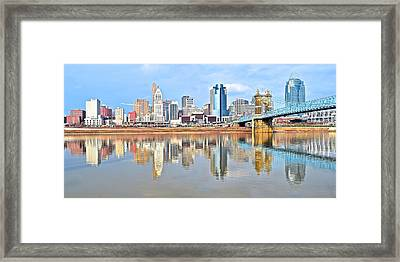 Cincinnati Reflects Framed Print by Frozen in Time Fine Art Photography