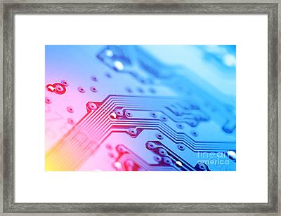 Circuit Board Abstract Framed Print by Konstantin Sutyagin