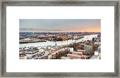 City At The Waterfront, Elbe River Framed Print by Panoramic Images