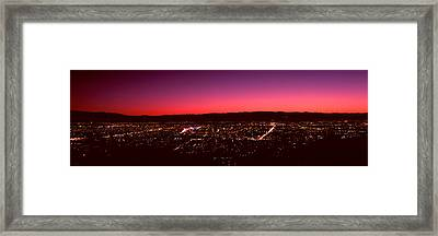 City Lit Up At Dusk, Silicon Valley Framed Print by Panoramic Images