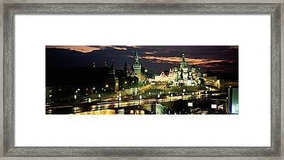 City Lit Up At Night, Red Square Framed Print