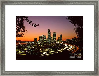 City Of Seattle Skyline Framed Print by King Wu