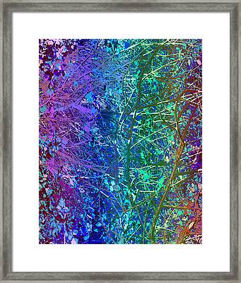 City Roads Map  Night Vision Neon Colors  Digital Graphic Conversion Enhancements Magical Signature  Framed Print