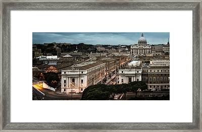Cityscape In Rome Framed Print