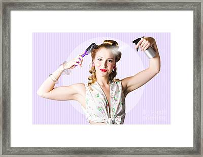 Classic 50s Pinup Girl Combing Hair Style Framed Print