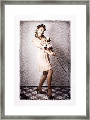Classic 60s Pinup Beauty Holding Ornate Flower Framed Print by Jorgo Photography - Wall Art Gallery