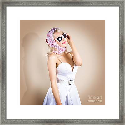 Classical Pinup Girl Posing In Retro Fashion Style Framed Print