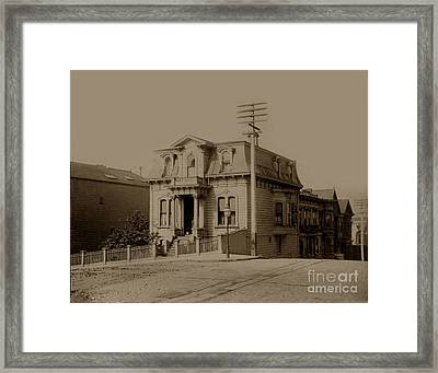 Clay And Hyde Street's San Francisco Built In 1874 Burned In The 1906 Fire Framed Print by California Views Mr Pat Hathaway Archives