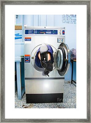 Cleaning Lady Trapped In Washing Machine Framed Print by Jorgo Photography - Wall Art Gallery