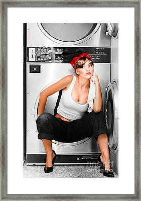 Cleaning Lady With A Dream Framed Print by Jorgo Photography - Wall Art Gallery