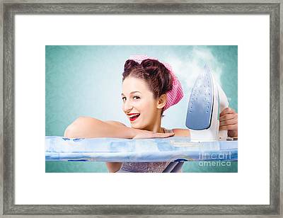 Cleaning Pin-up Housewife With Hot Clothing Iron  Framed Print by Jorgo Photography - Wall Art Gallery