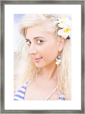 Clear Skin Woman With A Flower Near Face Framed Print