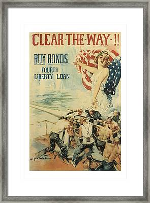 Clear The Way Vintage World War 1 Art Framed Print by Presented By American Classic Art