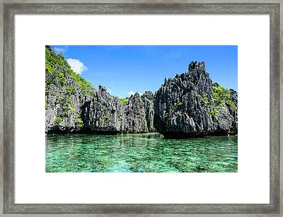 Clear Water In The Bacuit Archipelago Framed Print by Michael Runkel