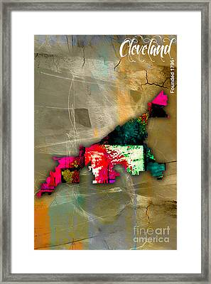 Cleveland Map Watercolor Framed Print by Marvin Blaine