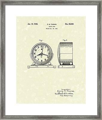 Clock Case 1932 Patent Art Framed Print