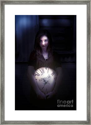 Clock Held By Woman Framed Print by Jorgo Photography - Wall Art Gallery