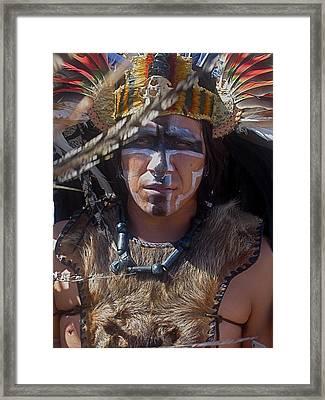 Close-up Aztec Performer O'odham Tash Casa Grande Arizona 2006 Framed Print by David Lee Guss