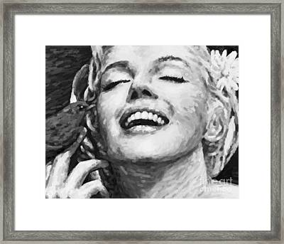 Close Up Beautifully Happy In Black And White Framed Print by Atiketta Sangasaeng