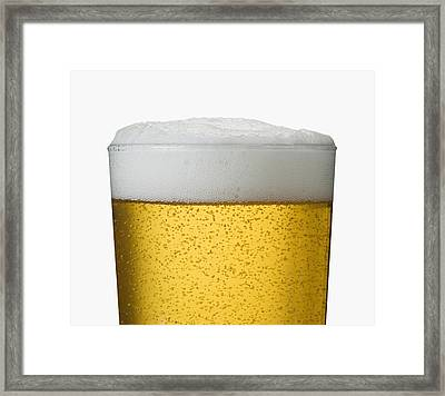 Close-up Detail Of Beer In Wet Glass Framed Print by Bruno Crescia
