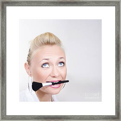 Close-up Face Of A Beautiful Woman Wearing Makeup Framed Print by Jorgo Photography - Wall Art Gallery