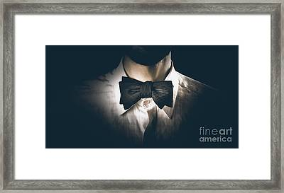 Close-up Of A Model Man Wearing Bow Tie Framed Print