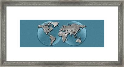 Close-up Of A World Map Framed Print