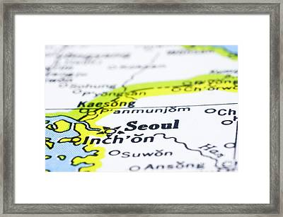 close up of Seoul on map-korea Framed Print by Tuimages