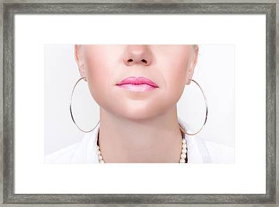 Closeup Beauty Photo Of Shiny Pink Lipstick Framed Print by Jorgo Photography - Wall Art Gallery