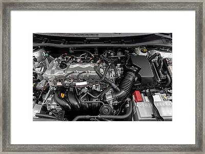 Closeup Photo Of A Clean Motor Block Framed Print by Oliver Sved