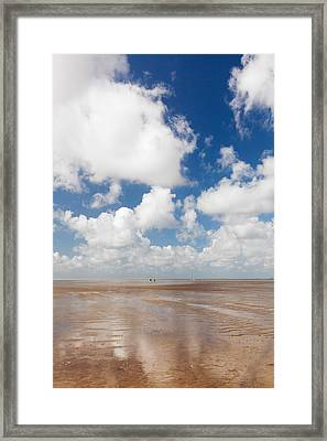 Clouds Over Beach, Wadden Sea National Framed Print