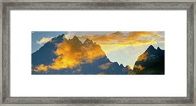 Clouds Over Mountain Range, Teton Framed Print by Panoramic Images
