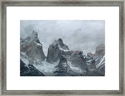 Clouds Over Snowcapped Mountains Framed Print