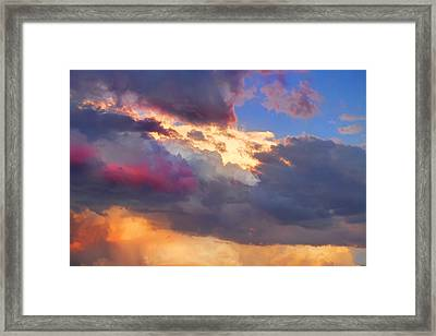 Cloudscape Sunset Touch Of Blue Framed Print