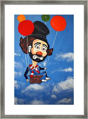 Framed Print featuring the painting Clown Up Up And Away by Nora Shepley
