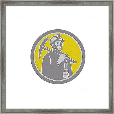 Coal Miner Hardhat With Pick Axe Lamp Front Circle Framed Print by Aloysius Patrimonio