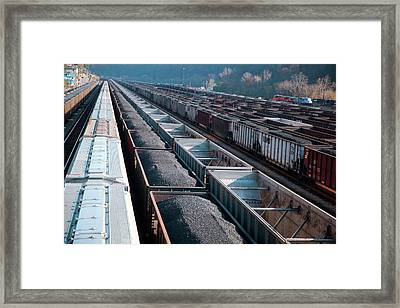Coal Trains In Railway Yard Framed Print by Jim West