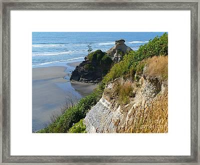 Coastal Strata Framed Print by Gayle Swigart